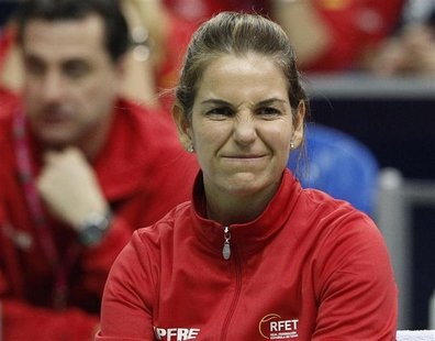Spain's team captain Sanchez-Vicario reacts as she watches the play of team mate Soler-Espinosa against Russia's Kuznetsova during their Fed