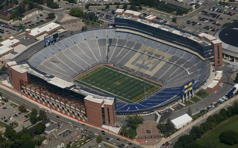 "Michigan Stadium, home of the University of Michigan Wolverines football team and nicknamed ""The Big House,"" is photographed in Ann Arbor, M"