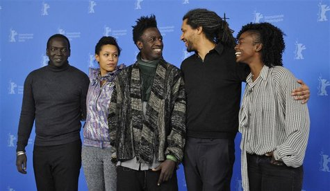 "Actor M'bengue, actress Uzeyman, actor Williams, director Gomis, actress Maiga attend photocall to promote movie ""Aujourd'hui - Tey"" at 62nd"