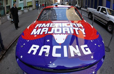 The new NASCAR American Majority Racing team race car is seen in New York City