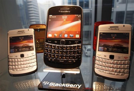 BlackBerry smartphones are displayed at a store in Seoul