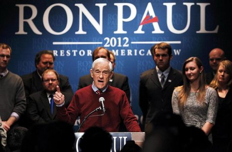 U.S. Republican presidential candidate Ron Paul speaks at a rally in Golden Valley, Minnesota