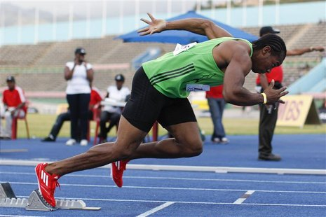 Jamaican sprinter Blake competes at the men's 400m at the Camperdown Classic in Kingston