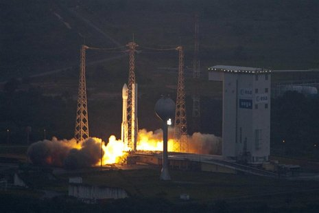Europe's first Vega rocket lifts off from the European Space Agency (ESA) launch centre in Kourou, French Guiana