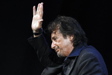 Director and actor Pacino of U.S. waves after receiving Jaeger Lecoultre Glory to Filmmaker Award at gala awards ceremony at 68th Venice Fil