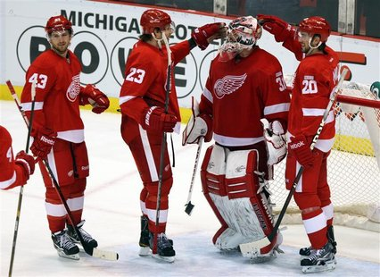 Detroit Red Wings celebrate their victory over the Dallas Stars in their NHL hockey game in Detroit
