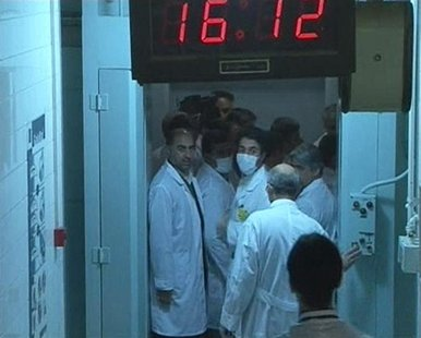 Still image taken from video shows a group of scientists seen near the control room area at the Tehran Research Reactor in Tehran