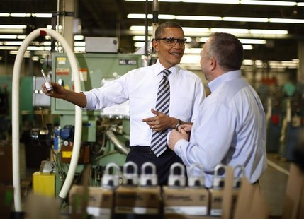 U.S. President Barack Obama visits Master Lock in Milwaukee, Wisconsin