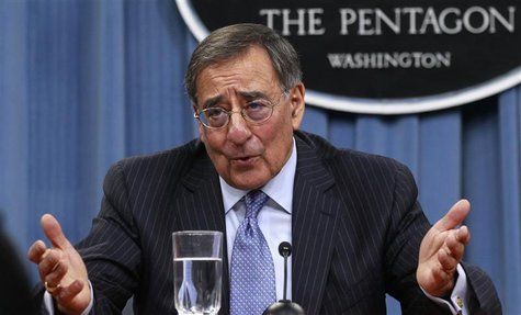 U.S. Defense Secretary Leon Panetta gestures as he briefs the media at the Pentagon Briefing Room in Washington, DC