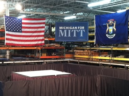 Mitt for Michigan sign at Compatico Inc. in Grand Rapids, MI
