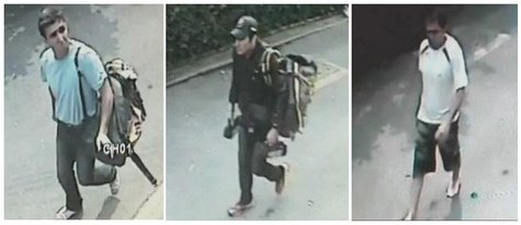 Combo picture shows three men suspected to be involved in three blasts in Bangkok