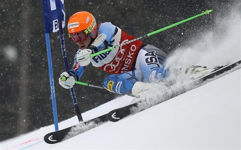 Ligety of the U.S. competes during the men's alpine skiing World Cup giant slalom race at the Bulgarian ski resort of Bansko