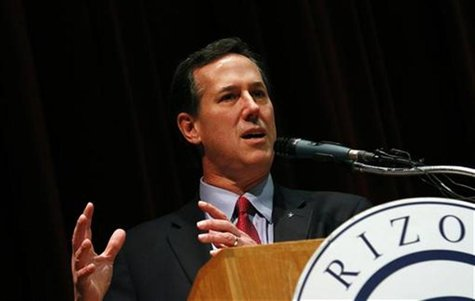 U.S. Republican presidential candidate and former Pennsylvania Senator Santorum addresses the Maricopa County Lincoln Day Luncheon in Phoeni