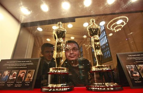 "Oscar statuettes are on display during the opening of ""Meet the Oscars"" exhibition at Grand Central Station in New York"