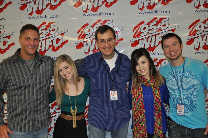 Megan & Liz with Belky, Tony Waitekus and Mike Mathers