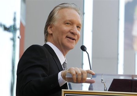Comedian Bill Maher speaks during ceremonies unveiling his star on the Hollywood Walk of Fame in Hollywood