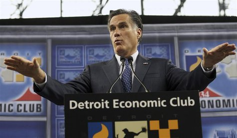 Republican presidential candidate Romney addresses Detroit Economic Club during campaign stop at Ford Field in Detroit