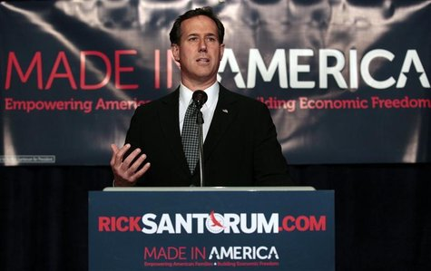 U.S. Republican presidential candidate Rick Santorum addresses supporters during a campaign stop in Michigan