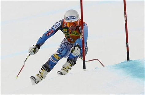 Miller of the U.S. speeds down in the downhill part of men's Alpine Skiing World Cup Super Combined event in Rosa Khutor near Sochi