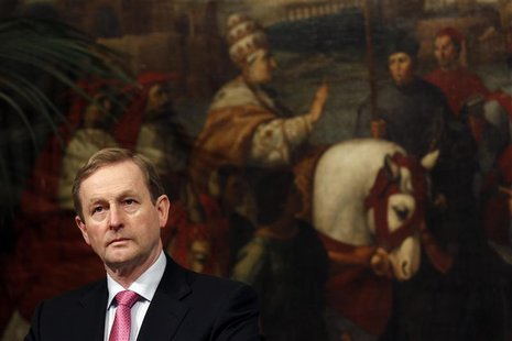 Ireland's PM Kenny looks during a meeting with his Italian counterpart Monti in Rome