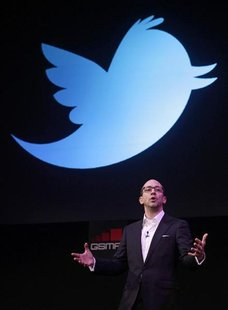 Twitter's CEO Dick Costolo gestures during a conference at the GSMA Mobile World Congress in Barcelona