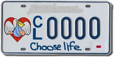 A Choose Life license plate