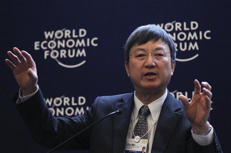 Min Zhu, Deputy Managing Director, International Monetary Fund (IMF), attends a session at the World Economic Forum (WEF) in Davos
