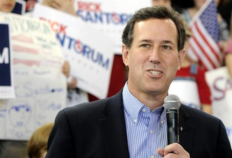 U.S. Republican presidential candidate Santorum speaks at Peachtree-Dekalb Airport atcampaign rally in Atlanta.