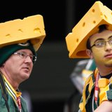 Packers fans wearing cheeseheads