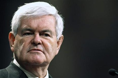 U.S. Republican presidential candidate Newt Gingrich speaks at First Redeemer Church while on a campaign tour in Cumming