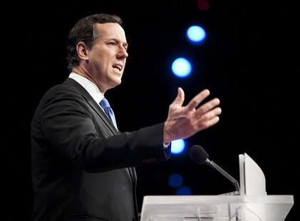 Republican presidential candidate Rick Santorum speaks to the American Israel Public Affairs Committee policy conference in Washington