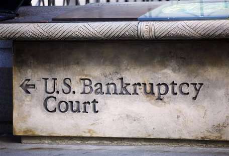 A sign points the way towards U.S. Bankruptcy Court in New York.