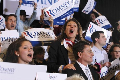 "Supporters of Republican U.S. presidential candidate and former Massachusetts Governor Mitt Romney sing at his ""Super Tuesday"" primary elect"