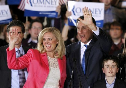 "Republican presidential candidate and former Massachusetts Governor Mitt Romney waves with his wife Ann at his ""Super Tuesday"" primary elect"