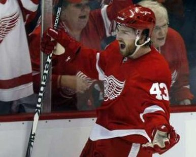 Detroit Red Wings' forward Darren Helm. REUTERS/Rebecca Cook