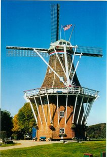 The historic DeZwaan windmill at Windmill Island Gardens in Holland.