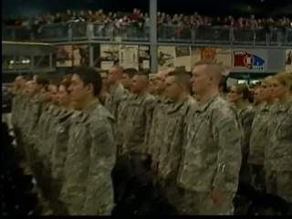 Members of the Oshkosh-based 1157th Transportation Company of the Wisconsin National Guard prepare for deployment to Afghanistan. (courtesy of FOX 11).