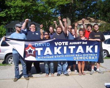 David Takitaki (second from left) launches a state House campaign in 2010 in this photo from his Facebook account. The college professor from Muskegon has announced his candidacy for Congress in 2012.