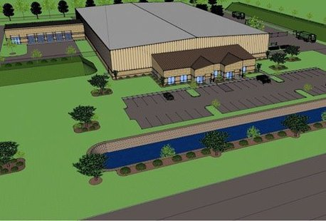Rendered picture of Oneida Energy's gasification plant at 1230 Hurlbut Road, Green Bay, WI