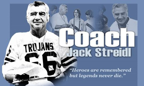 Area coaching legend Jack Streidl, who passed away Monday at the age of 93.  Photo and design by Anne Goodrich.