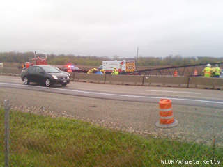 Emergency crews respond to an apparent construction accident along Highway 41 in the De Pere area April 20, 2012. (courtesy of FOX 11).