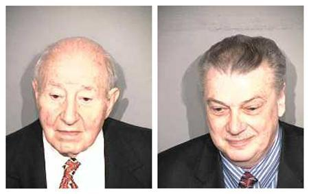 Manuel ''Matty'' Moroun (L), an owner of the company that controls the Ambassador Bridge connecting Detroit with Windsor, Canada, and company executive Dan Stamper are seen in a combination of booking photos provided to Reuters by Wayne County Sheriff's Office January 12, 2012.  Credit: Reuters/Wayne County Sheriff's Office/Handout