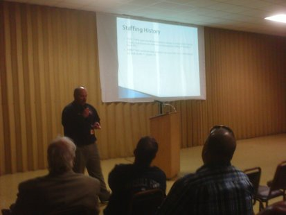 Merrill assistant fire chief Steve Hintz goes over funding and staffing issues for the department at a public meeting, April 24 2012