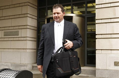 Former baseball star Roger Clemens leaves Federal District Court in Washington D.C. April 23, 2012. REUTERS/Kevin Lamarque