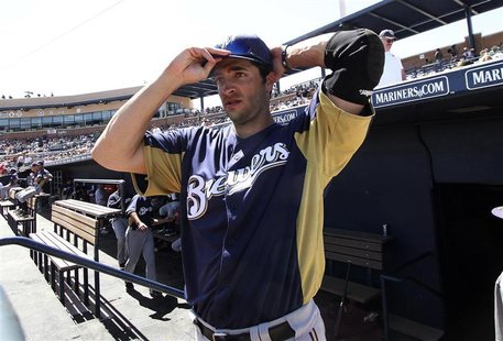 MLB's 2011 National League Most Valuable Player Ryan Braun of the Milwaukee Brewers prepares to go on the field during their MLB spring trai