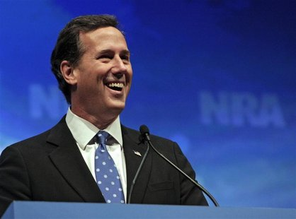 U.S. former Republican presidential hopeful Senator Rick Santorum speaks at the Celebration of American Values Leadership Forum during the N