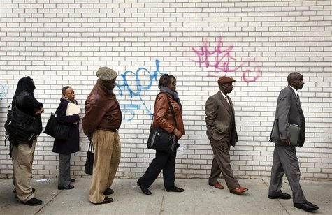 Jobseekers stand in line to attend the Dr. Martin Luther King Jr. career fair held by the New York State department of Labor in New York Apr