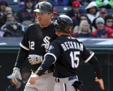 Chicago White Sox DH Adam Dunn (L) is congratulated at home plate by teammate Gordon Beckham (R) after hitting a home run. REUTERS/Aaron Josefczyk
