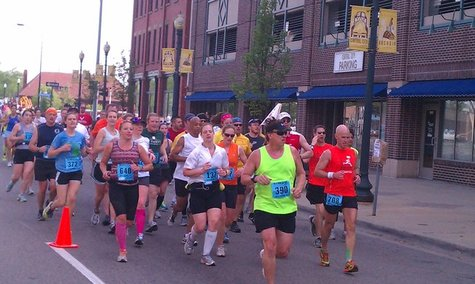 Runners make their way through the Kalamazoo Marathon on Sunday May 6th, 2012.