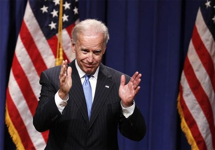 U.S. Vice President Joe Biden gestures after giving a speech regarding the Obama administration's foreign policy record at New York Universi